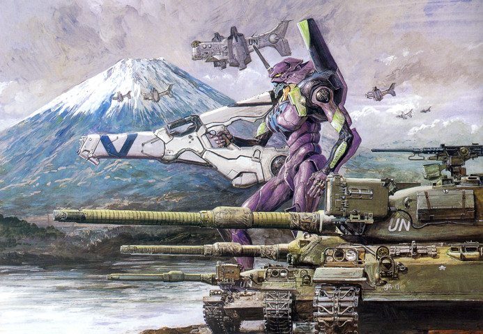 Evangelion: Painting of Shogouki in battle, with UN tanks