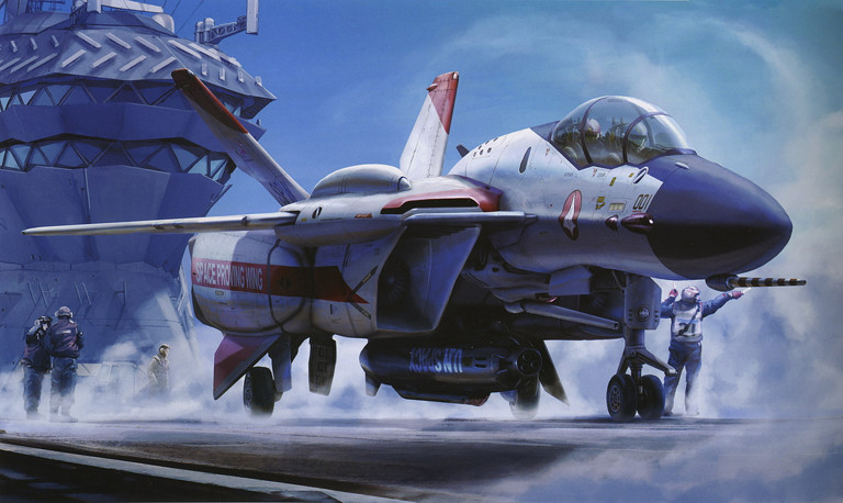 Macross: VF-0 on the deck of the CVN-99 Asuka II