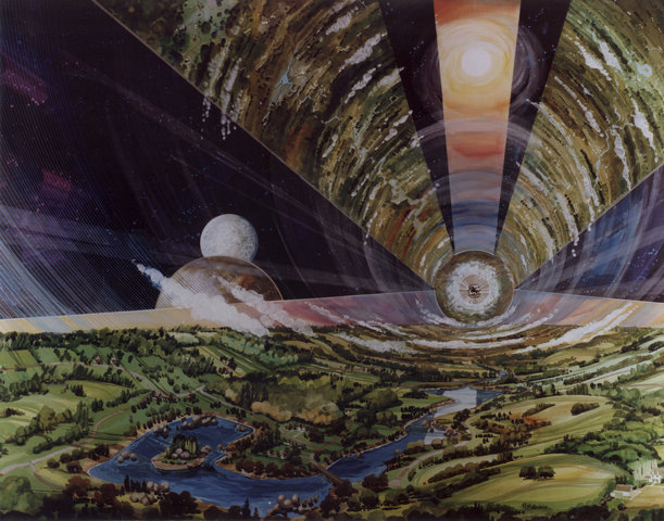 Classic Science Fiction: Inside of a O'Neill cylinder style space station