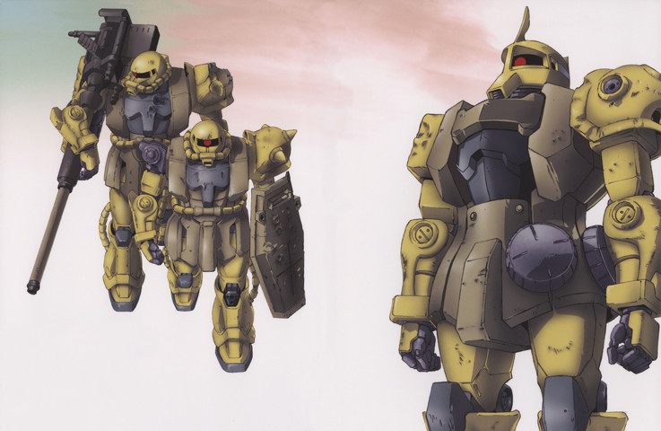 Gundam: Zaku I and Zaku IIs featured in 08th MS Team