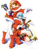 Evangelion: Asuka, Rei, and Pen Pen Celebrate Christmas