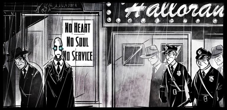 Miscellaneous: Penny Arcade does film noir with robots, see also that one episode of Big O