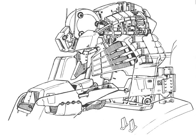 Gundam: Line art of Sentinel's head